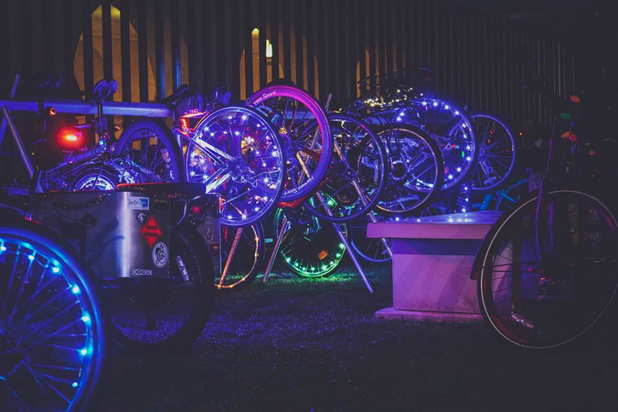 Cyclists In The Best And Ugliest Holiday Attire Deck Their Bikes To Light Up Balboa Park